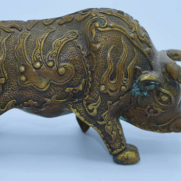 Brass Bull Statue Vintage Ornate Etched Small Bull Statue Solid Brass Paperweight Hollywood Regency Brass Animal Gift for Him Gift for Her