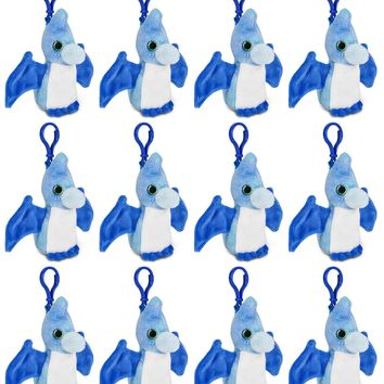12 Pack Pteranodon Stuffed Animal, Backpack Clip Toy Keychain, 4 Inch Plush Kids Party Favors