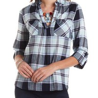 Collared High-Low Plaid Top by Charlotte Russe