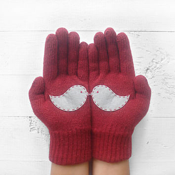 VALENTINE'S DAY Gift, Love Birds, Burgundy Gloves, Deep Red, Gray, Special Gift, Winter Trend, Gift For Her, Love Gift, For Woman, Valentine