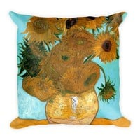 "Vincent Van Gogh Art Square Pillow With Pillow Insert 18 x 18"" Double Sided Print"