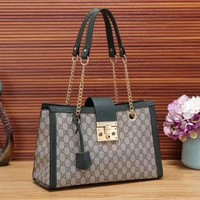 Gucci Women Fashion Leather Chain Satchel Shoulder Bag Handbag