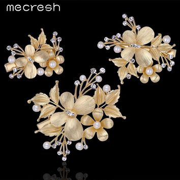 Mecresh 3pcs/set Flower Simulated Pearl Wedding Hair Accessories Gold-Color Crystal Butterfly Hairpins Combs Barrettes TS027