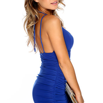 Sexy Royal Blue Deep V Neck Chain Link Straps Party Dress