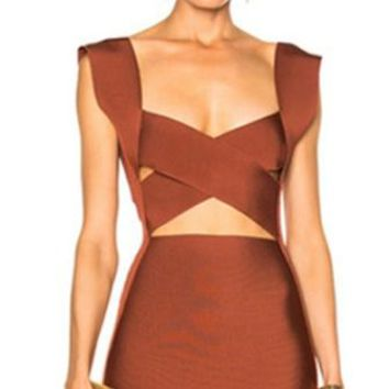 Up For The Challenge Sleeveless Cross Wrap V Neck Cut Out Bodycon Bandage Mini Dress - 2 Colors Available