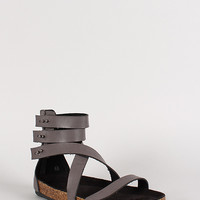 Bumper Taja-03 Push Stud Open Toe Gladiator Footbed Sandal