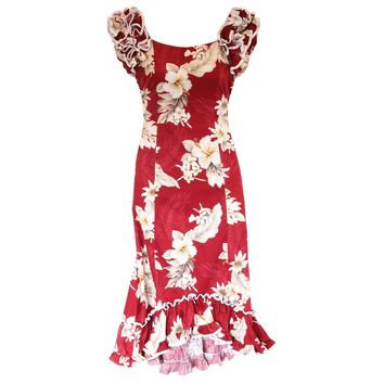 Chili Red Hawaiian Meaaloha Muumuu Dress with Sleeves