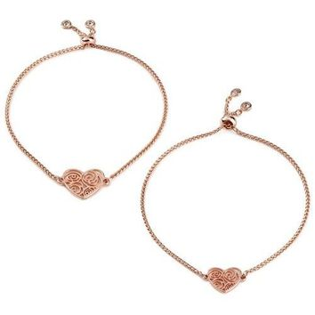 Mark & Hall Rose Gold Filigree Heart Bolo Bracelets, Set of 2