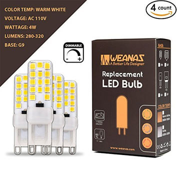 WEANAS 4 Pack G9 Base Replacement LED Light Bulb Lamp AC 110V 4W Dimmable