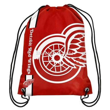 Detroit Red Wings Drawstring Backpack 35x45CM NHL Digital Printing Polyester Custom Sports Backpack, free shipping