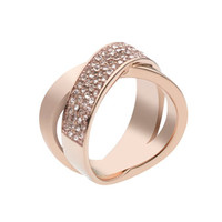 Michael Kors Pave-Crystal Twist Ring, Rose Golden