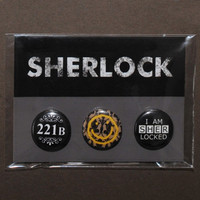 Set of 3 BBC Sherlock buttons / badges / pinbacks (1 pack)