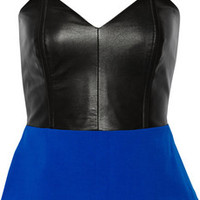 Mason by Michelle Mason Leather and crepe peplum top – 65% at THE OUTNET.COM