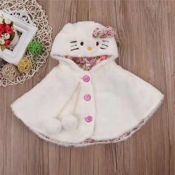 2017 Autumn Winter Baby Girls Warm Coat Cartoon Cat Lovely Hooded Bowknot Cloak Poncho Jacket Outwear Infant Baby Clothing
