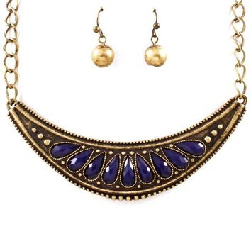antiqued gold and blue necklace and earring set