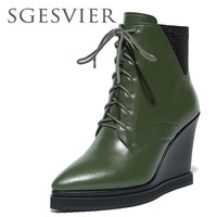 SGESVIER Genuine Leather Ankle Boots Women Platform Boots Fashion Pointed Toe Boots Wedges Heels Ladies Shoes Size 34-39 YT026