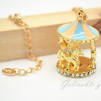 Colorful merry-go-round Pendant Necklace,Golden Carousel necklae,swing horse childhood memory  NSH02