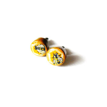 Honeybee Earrings -  Hand Painted Bumblebee Earring Studs - Bumble Bee Insect Jewelry - Honey Bee Post Earrings Bug - Honeycomb