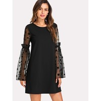 Star Mesh Sleeve Tunic Dress