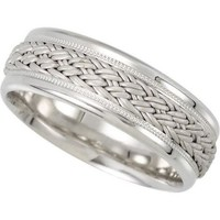 7.5mm Hand Woven Comfort Fit 14K White Gold Men's Wedding Band (Available Ring Sizes 7-12 1/2)