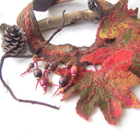 Felted  necklace -  Autumn leaves fall green orange brown
