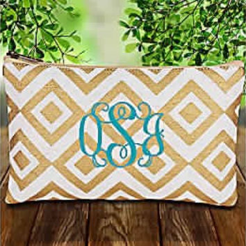 Burlap monogrammed diamond gold glamour cosmetic bags, bridemaids gift, embroidery, wedding, birthday, mothers day