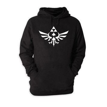 Zelda Triforce Logo Nintendo Licensed Adult Unisex Hoodie Sweatshirt - Black