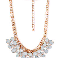 FOREVER 21 Faux Stone Bib Necklace Mint/Gold One