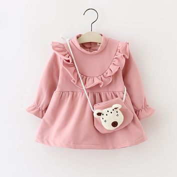 New Autumn Baby Girls Dress Casual Girls Dresses Winter Thicken Long Sleeve Toddler Girl Dresses Princess Costume 0-2Y