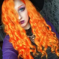 Long Bright Arancia Orange Synthetic Lace Front Wig
