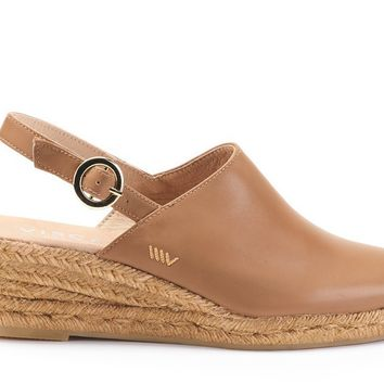 Salionca Leather Espadrille Wedge Clogs - Sahara Brown