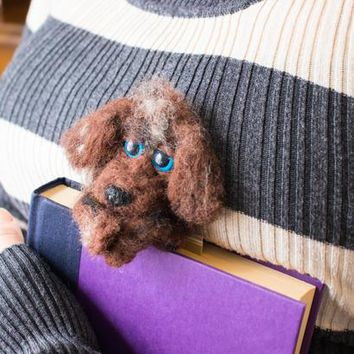 Dog adornment, doggy bookmark, felted dog, needle felted animals, cute felt dog, gift handmade art, felt animal, book, bookmarker, decor