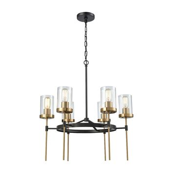 14553/6 North Haven 6 Light Chandelier In Oil Rubbed Bronze With Satin Brass Accents And Clear Glass