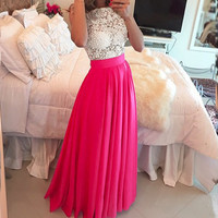 Summer Women Sexy Party Dresses 2016 O-neck Sleeveless Lace Patchwork Perspective Floor Length Elegant Maxi Dress Vestidos