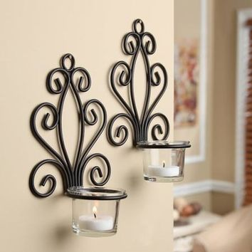 Mainstays Scroll Wall Sconce Candleholders, Set of 2 - Walmart.com