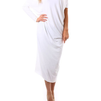 Plus Size Clothing/ Asymmetric White Dress/ Hippie Boho Wedding Dress/ Off the Shoulder Maxi Dress/ Maternity Dress/ Long Kaftan/ Abaya