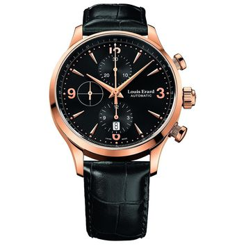 Louis Erard Men's 1931 40mm Black Leather Band Rose Gold Plated Case Automatic Watch 78225PR12.BRC02