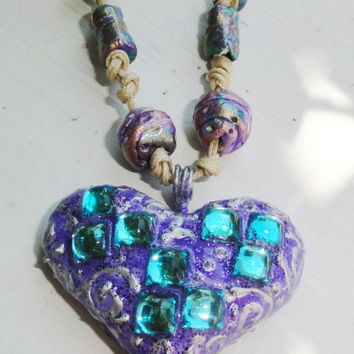 Heart pendant, talisman,locket,amulet,tribal,eco friendly,air dry clay,zircons,blue caribbean, violet,rustic,earthy organic,boho arisan clay