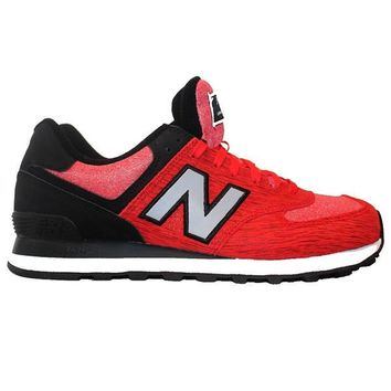 new balance 574 sweatshirt red black suede mesh lifestyle sneaker