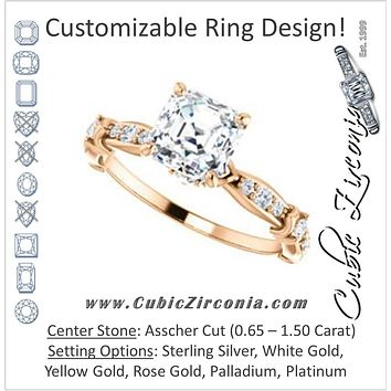 Cubic Zirconia Engagement Ring- The Willow (Customizable Asscher Cut Artisan Design with 3 Kinds of Round Cut Accents)