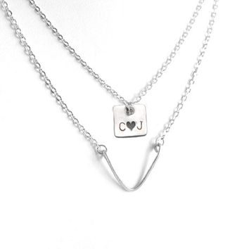Square Chevron Hand Stamped Personalized Initials Layered Necklace