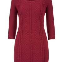 Cable Knit Sweater Dress - Red