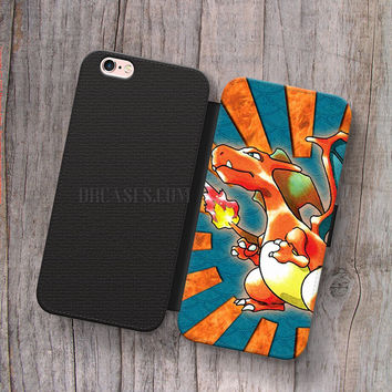 Wallet Leather Case for iPhone 4s 5s 5C SE 6S Plus Case, Samsung S3 S4 S5 S6 S7 Edge Note 3 4 5 pokemon charizard Cases