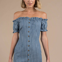 Eli Stripe Chambray Off Shoulder Bodycon Dress