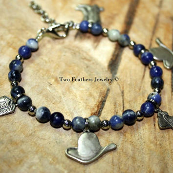 Cowgirl Charm Bracelet - Sodalite Bracelet - Western Charms - Rodeo Bracelet - Beaded Bracelet - Blue And Silver - Made In USA - For Her