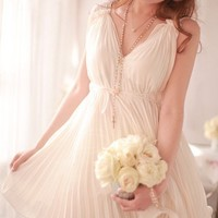 Goddess Plunging Neck Chiffon Pleated Dress*free shipping*