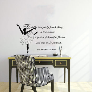 Quote About Dance Life Ballet with Dancer Ballerina Vinyl Decal Home Wall Decor Dance School Studio Stylish Sticker Unique Design Room V523