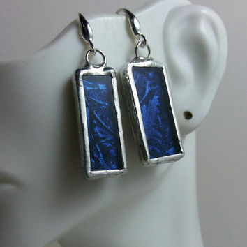 RESERVED  Stained Glass Earrings of Blue Van Gogh Glass, Rectangular Stained Glass Earrings, Unusual One Of A Kind Jewelry
