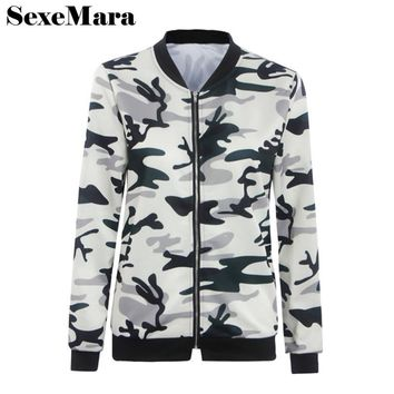 SexeMara casual slim zipper camo jacket