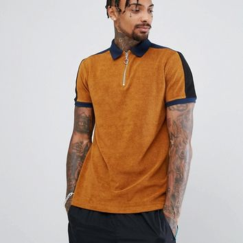 ASOS Polo Shirt In Towelling With Contrast Panelling And Zip Neck at asos.com